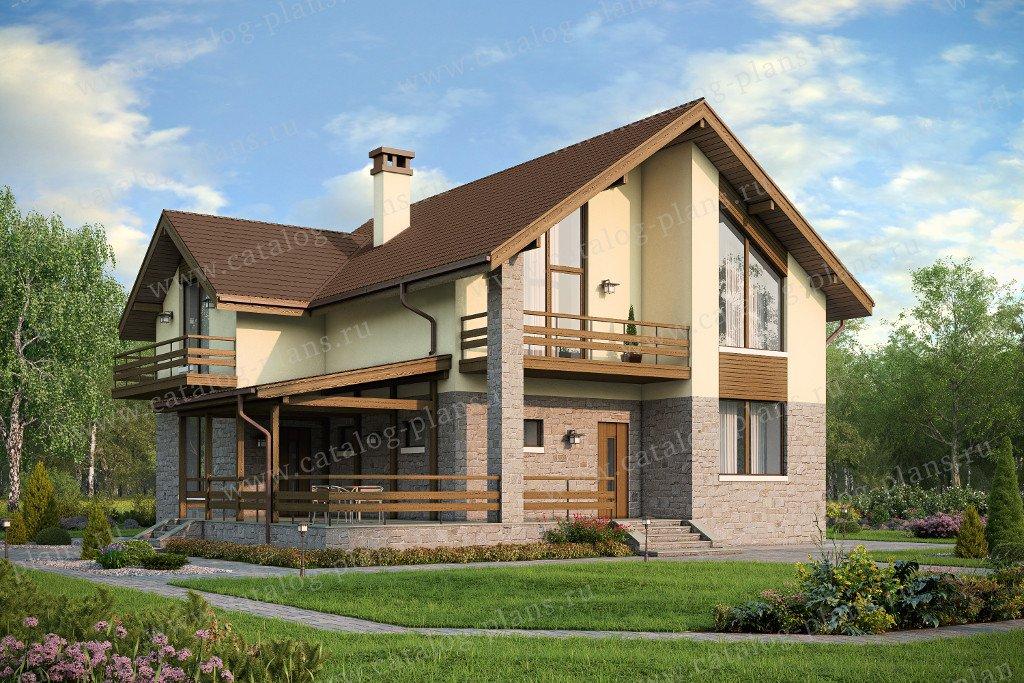 Проект одноэтажного дома 12 на 12 с мансардой и 5 спальнями .