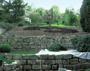 Сад, разделенный на секции с помощью подпорных стенок